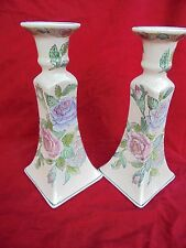TOYO CANDLE HOLDER, Set of 2, Chinoiserie Decor,Pink Floral, Asian Style Vintage