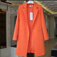 Womens One Button Lapel Slim Fit Jacket Blazers Casual Wool Blend Mid Long Coats