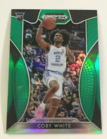 Coby White 2019-20 Panini Prizm Draft Pick Green Refractor Rookie Card RC #70