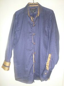 MENS  PURE BLAKK ROYAL BLUE AND GOLD PAT LONGSLEEVE DRESS SHIRT SIZE SLIM FIT XL