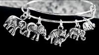 Elephant Family Of 5 Silver charms Expandable Bangle Bracelet