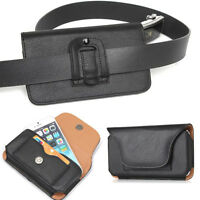 Black PU Leather Smart Phone Belt Clip Holster Sleeve Pouch Card Slot Case Cover