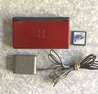 Nintendo DS Lite Red Black Handheld Console w/ Super Mario + Stylus OEM Charger
