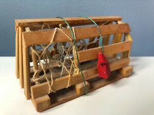 Vintage Miniature Lobster Trap Hand Made Wood w Ballast Stone Decoration Canada
