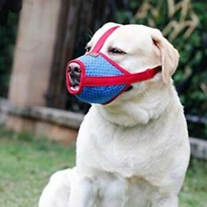 Dog Muzzle barking biting licking eating breathable soft mesh adjustable pet ill