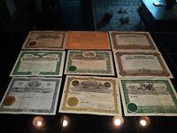 vintage stock certificates 1911 1933 1910 1903 mayflower niagra new castle