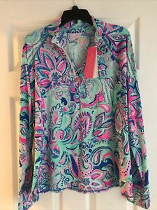 NWT Lilly Pulitzer Marion Half Zip Multi Living The Dream XL Free Shipping