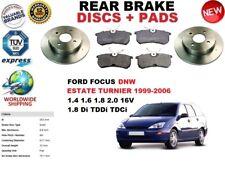 Para Ford Focus Dnw Turnier Familiar 1999-2004 Juego de Discos Freno Trasero +