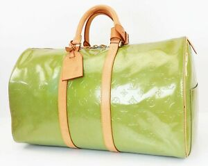Auth LOUIS VUITTON Mercer Baby Blue (Green) Vernis Leather Duffel Bag #40035