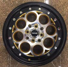 2x 15x3.5 SKINNIES  DRAG RACING WHEELS 4X100 / 4x114.3 REVOLVER RIMS GOLD BLACK