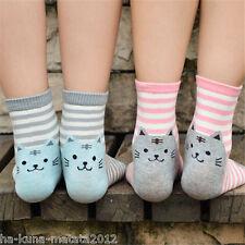 KITTY SOCKS Fun GREY Stripe CAT Cotton Ankle SOCKS One Size UK 12-4  New GB Sale