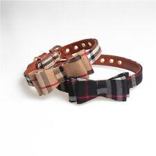 Plaid Dog Cat Collar - Bow Tie Pet Bowtie Pu Leather Gold Buckle Luxury