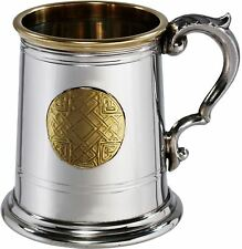 Pewter Tankard  Half Pint Polished Brass Rim and Round Insert