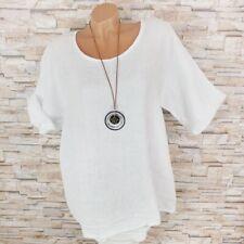 MADE IN ITALY Tunika 100% Leinen Halbarm Shirt mit Halskette weiß 42 44 46
