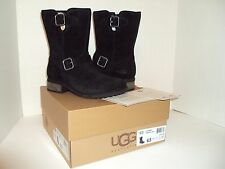 UGG Australia Chaney Black Leather & Shearling Mid Calf Zipper Boot New Size 6.5