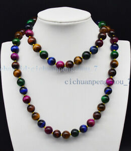 Natural 8/10/12mm Multi-color Tiger's Eye Round Gemstone Beads Necklace 18-36''