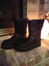 NIB UGG Classic REBEL BIKER Black Short Leather Platform Boots Size 7