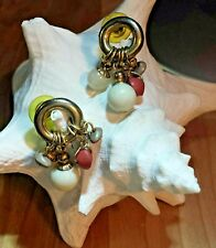 Antique Gold Plated Hoop Natural Colored Beaded Dangle Preowned Post Earrings