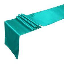 3 Lings Moment Table Runner 12 x 108 Inch Satin Teal Blue Table Runner Wedding