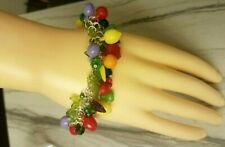 "Fruit Basket Salad Carmen Miranda Style Charm Bracelet 8"" Banana Apple Red Green"