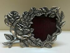 WHOLESALE...Vintage Rose and Leaf Pewter Picture Frame (Lot of 5)