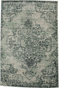 Modern Floral Design Distressed Green 4X6 Hand-Loomed Rug Contemporary Carpet