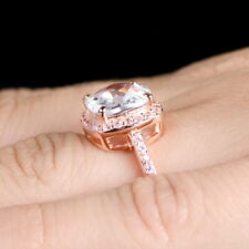 Ct White Cz Studded Wedding Fine Ring 10K Rose Gold Plated 925 Sterling Silver 2