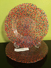 """Pier 1 One Confetti Hand Made Glass Charger Chop Serving Platter Plate 12"""" RARe"""