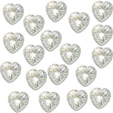 80 SELF ADHESIVE HEART SHAPED CLEAR ACRYLIC DIAMANTE RHINESTONES GEMS 12 X 12MM