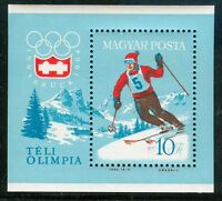HUNGARY-1964.Souv.Sheet-Winter Olympics Innsbruck(sport,ski)  MNH! Mi Bl.40.