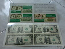 USA UNCUT 2x2 ONE DOLLARS US$1 banknote with double folder (UNC) (SOLD)