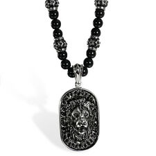 Mens Handmade Onyx Beads Necklace with Stainless Steel Lion Head Shield Pendant