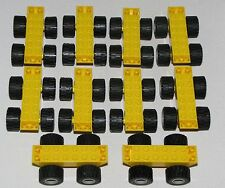 LEGO LOT OF 10 YELLOW CARS VEHICLES BASE PARTS WITH WHEELS TIRE PARTS
