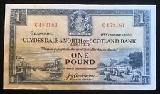 Nov 1st 1950 Clydesdale & North of Scotland Bank Limited 1 pound.
