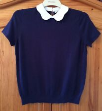 Tu Navy Blue Collared Jumper Smart Casual Vintage Look Size 20