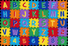 5x7  Educational Rug Kids ABC Letters & Numbers Puzzle Game Alphabet School Time