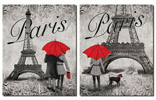 "NEW Paris Eiffel Tower and Red Umbrella Set; 2-11x14"" Paper Posters"
