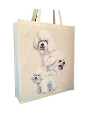 Bichon Frise Cotton Shopping Tote Bag with Gusset and Long Handles Perfect Gift