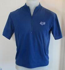 Fox Racing 1/4 Zip CYCLING JERSEY Back Zipper Pocket LARGE Shirt Blue MTB Moto