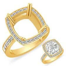 0.60Ct Cushion Setting Round Diamond Engagement Wedding Ring 14k Gold Yellow VS2