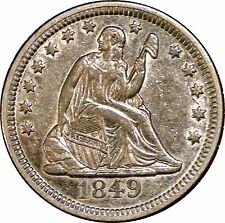 1849 LIBERTY SEATED QUARTER ~ SHARP STRIKE ~ CHOICE ABOUT UNCIRCULATED AU