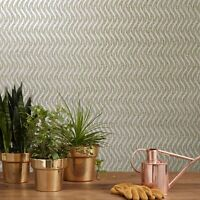 Real Natural Mica Vermiculite brass taupe metallic sparkles wave lines Wallpaper