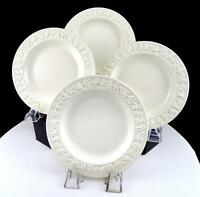 """WEDGWOOD QUEENS WARE 4 PC EMBOSSED GRAPE & VINE 6 1/4"""" BREAD & BUTTER PLATES"""