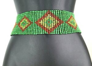 African  Ethnic Beaded Elastic Stretch  Adjustable Belt Waist Belly Hand Made