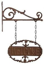 Hanging Welcome Sign Cast Iron Garden Door Gate Oval Wall Plaque Bracket