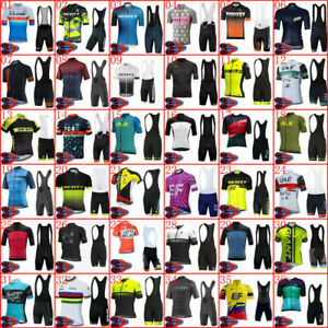 New Men's Cycling Jersey Bib Shorts Set Biking Shirt Brace Pants Pad Suits