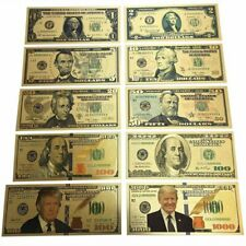 10Pc Donald Trump Gold Dollar Bill Full Set Gold Banknote USD 1/2/5/10/20/5 Nice