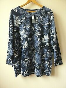 New Ex M&Co Navy+White Floral Print Side Popper Fastening Top Plus Size 18-28