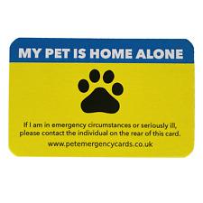 MY PET IS HOME ALONE Pet Emergency Cards DOG CAT Alert Ambulance Elderly Gift