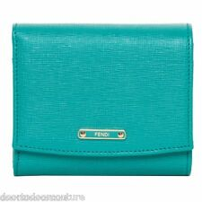 Fendi French Wallet small teal purse boxed gift